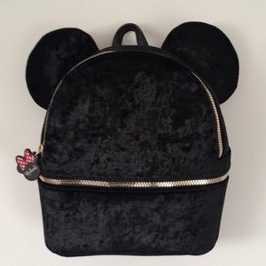 Minnie Mouse Velvet Black Backpack